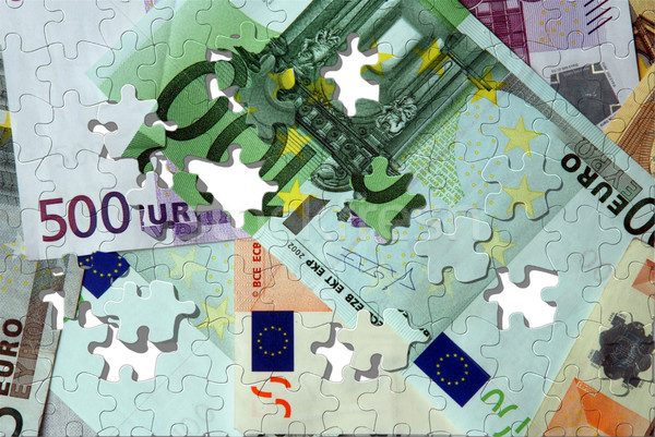 Euro bankbiljetten puzzel geld textuur achtergrond Stockfoto © fyletto