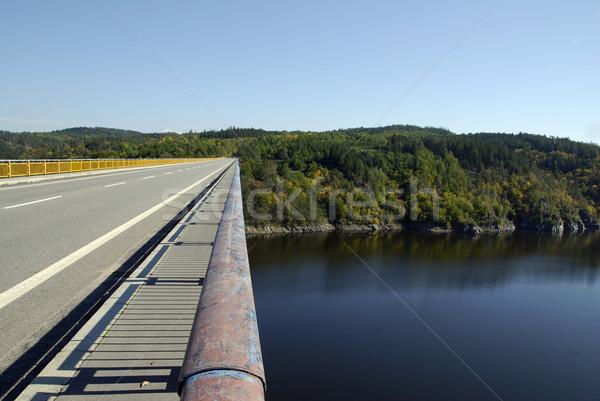 Ponte strada fiume cielo foresta Foto d'archivio © fyletto