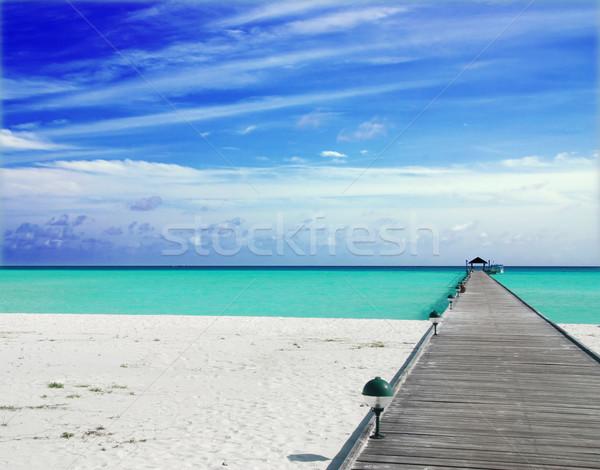 モルディブ 木製 美しい ビーチ 青空 雲 ストックフォト © fyletto