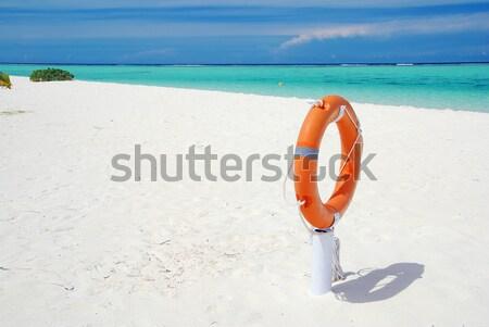 Tropisch strand panorama panoramisch landschap mooie oranje Stockfoto © fyletto