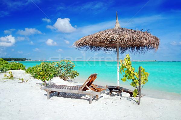 Playa Maldivas hermosa sombrilla dos cubierta Foto stock © fyletto