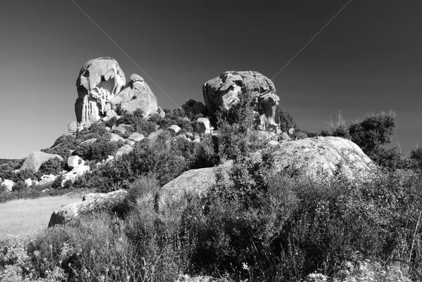 луна долины красивой рок Италия черно белые Сток-фото © fyletto
