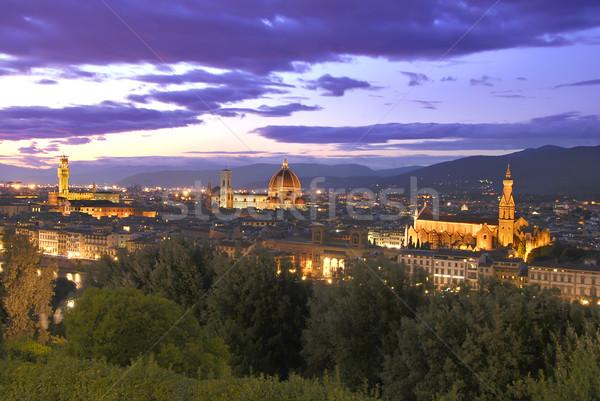 Zonsondergang florence hdr afbeelding mooie Stockfoto © fyletto