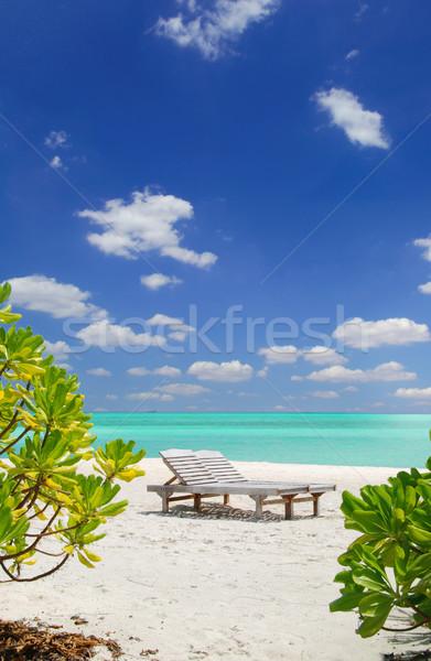 Ontspannen paradijs ontspannen Maldiven ligstoel azuur Stockfoto © fyletto