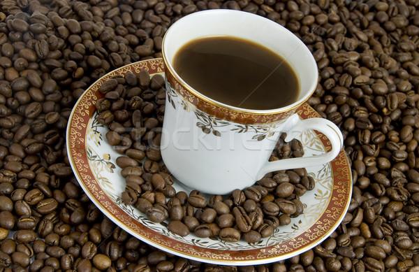 кофе горячий напиток кофе блюдце бобов фон Сток-фото © fyletto