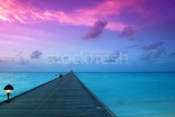 Sunset in the maldives Stock photo © fyletto