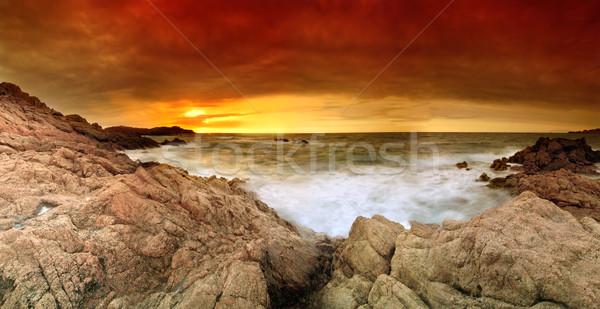 закат океана красивой драматический морем Италия Сток-фото © fyletto