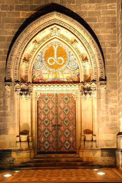 Porta megvilágított cseh katedrális ajtó templom Stock fotó © fyletto