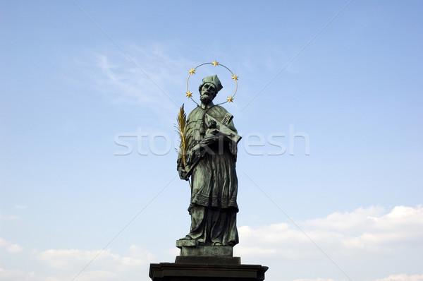 Szent szobor híd Prága város otthon Stock fotó © fyletto