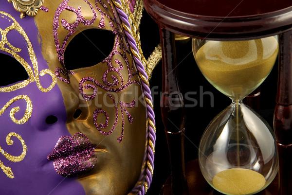 Tijd vermommen kleurrijk violet goud venetiaans masker Stockfoto © fyletto