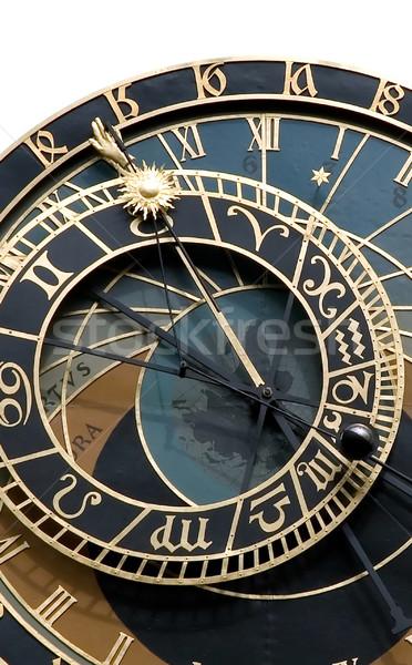 Oude sterrenkundig klok Praag geïsoleerd symbool Stockfoto © fyletto