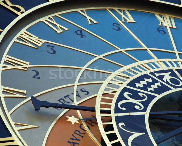 Astronômico relógio pormenor Praga República Checa tempo Foto stock © fyletto