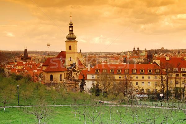 Praga tramonto chiesa signora giro turistico cielo Foto d'archivio © fyletto