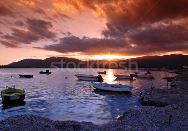 Coucher du soleil port belle dramatique ciel eau Photo stock © fyletto