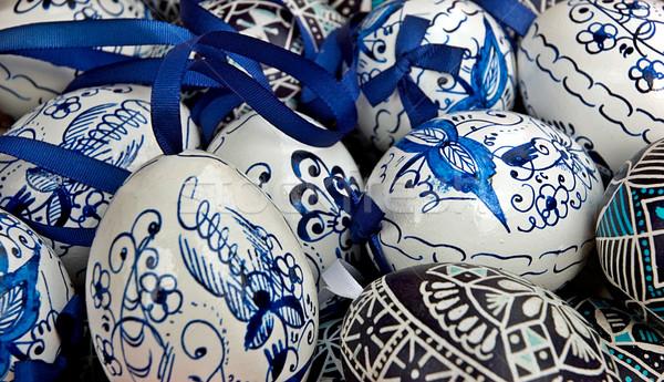 синий пасхальных яиц белый лента традиционный мелкий Сток-фото © fyletto