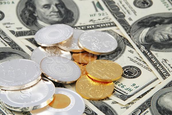 Photo stock: Dollars · pièces · dollar · tas · or
