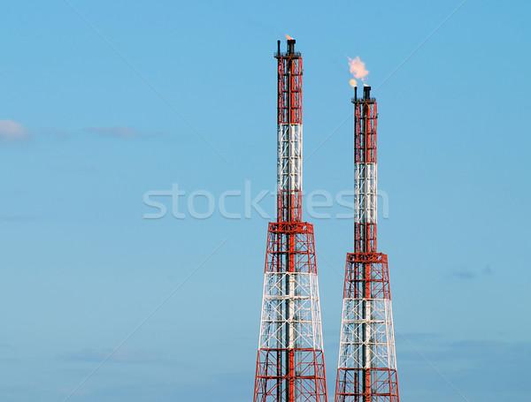 очистительный завод башни огня пламя сжигание газ Сток-фото © fyletto