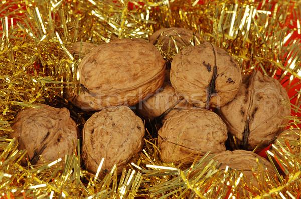 Christmas noten hoop decoratie gouden lint Stockfoto © fyletto