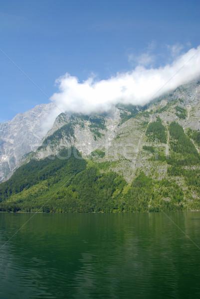 Alpine meer mooie bergen Maakt een reservekopie bos Stockfoto © fyletto