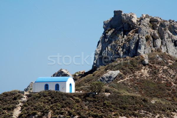 Romantikus görög esküvő kápolna hegy híres Stock fotó © fyletto