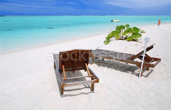 Ontspanning paradijs twee doek stoelen mooie Stockfoto © fyletto