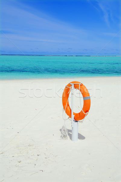 Plaży pomarańczowy piękna biały tropikalnej plaży chmury Zdjęcia stock © fyletto