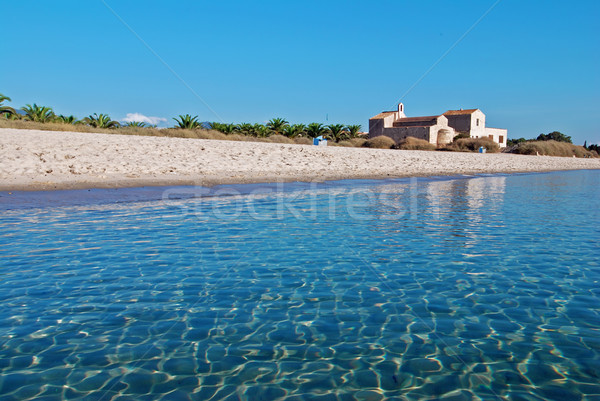 Trópusi tengerpart templom szép fehér tengerpart kék Stock fotó © fyletto