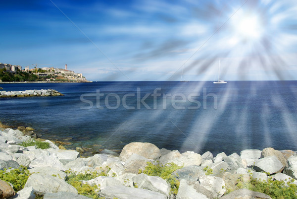 пляж пород Blue Sky Панорама воды морем Сток-фото © fyletto
