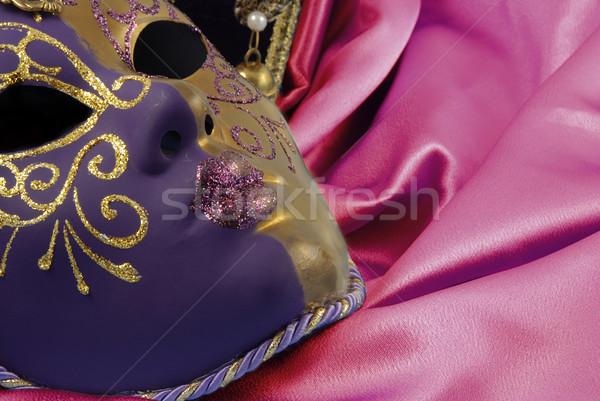 Gyönyörű velencei maszk piros bársony fektet arc Stock fotó © fyletto