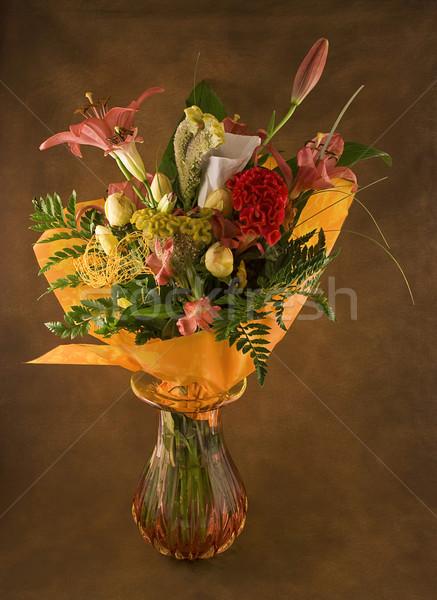 Mooie boeket vers bloemen bruin Stockfoto © fyletto