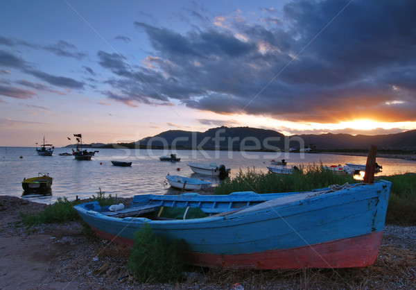 Puesta de sol puerto hermosa buque detalle dramático Foto stock © fyletto