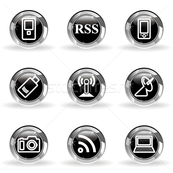 Glossy icon set Stock photo © Fyuriy