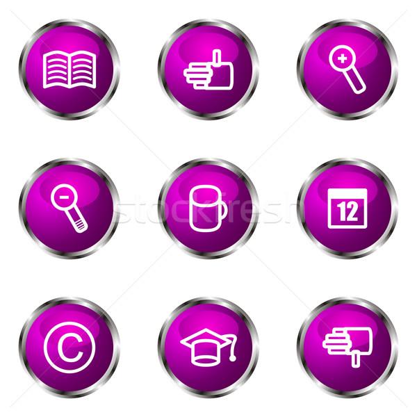 Сток-фото: набор · веб-иконы · 20 · фиолетовый