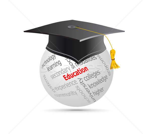 Education Cup on Globe Keywords. Vector illustration Stock photo © Fyuriy