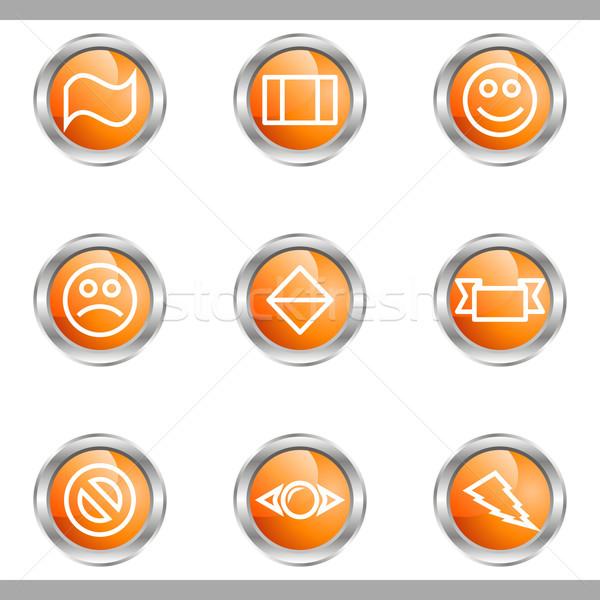 Conjunto os ícones do web metálico círculo Foto stock © Fyuriy