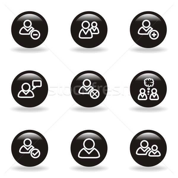 Establecer iconos de la web negro círculo Foto stock © Fyuriy