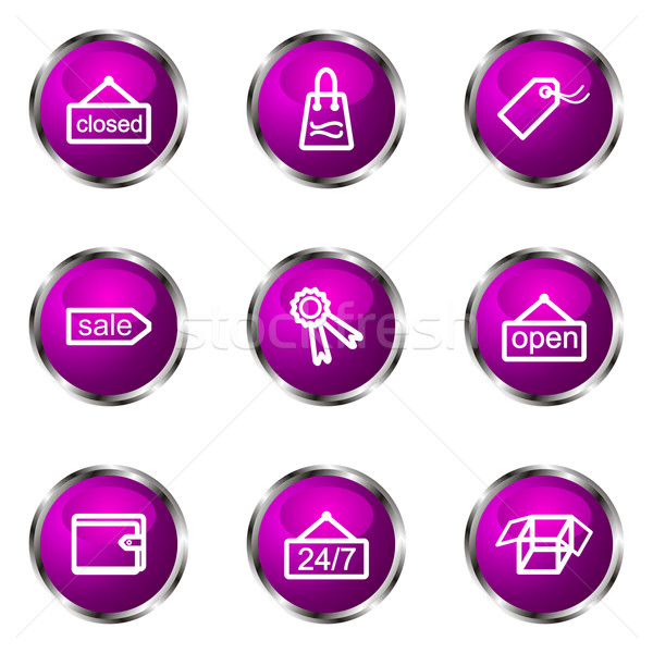 Lucido set icone web viola colore Foto d'archivio © Fyuriy