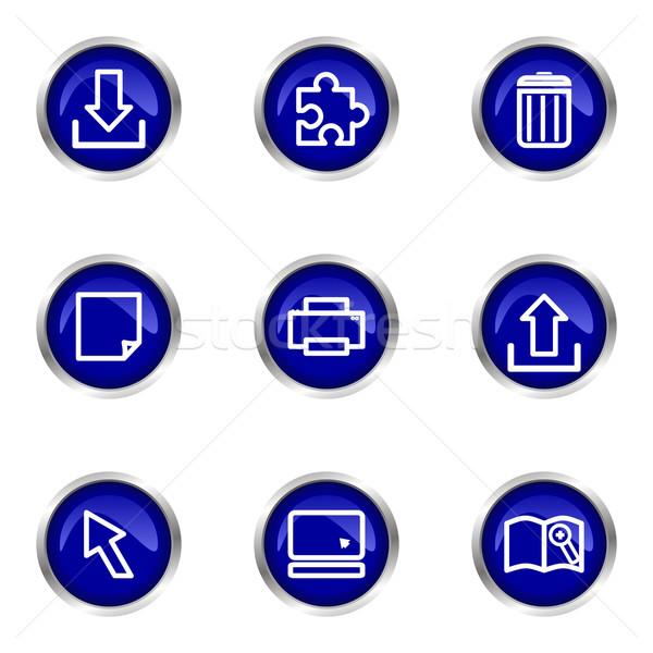 Establecer iconos de la web azul círculo Foto stock © Fyuriy