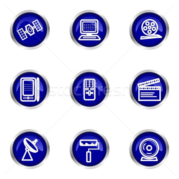 Icônes web bleu cercle Photo stock © Fyuriy