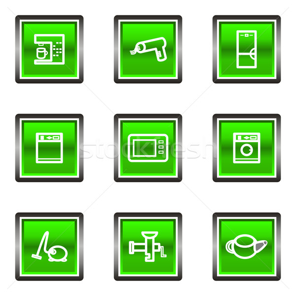 Lucido set piazza icone web verde Foto d'archivio © Fyuriy