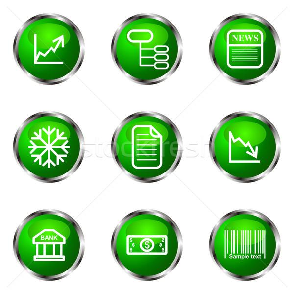 набор веб-иконы зеленый цвета Сток-фото © Fyuriy
