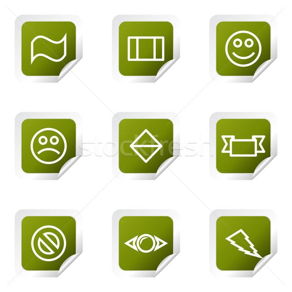 Conjunto os ícones do web verde praça Foto stock © Fyuriy