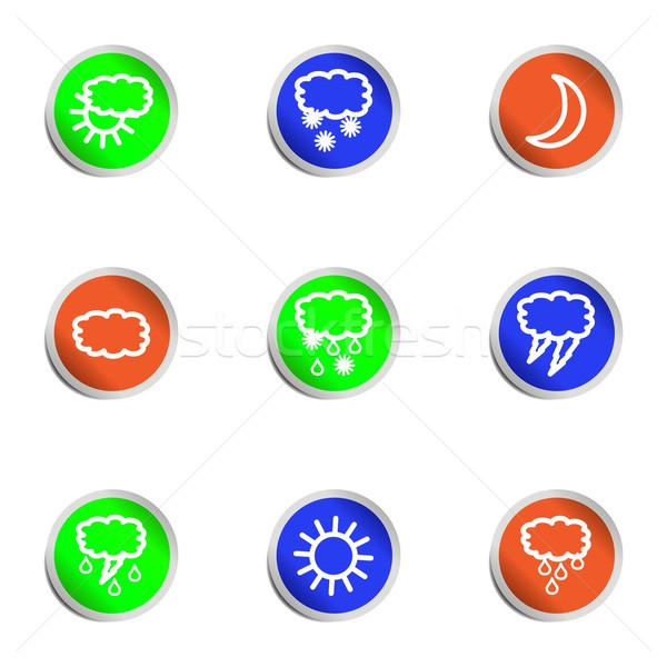 Foto d'archivio: Lucido · set · icone · web · colore · cerchio