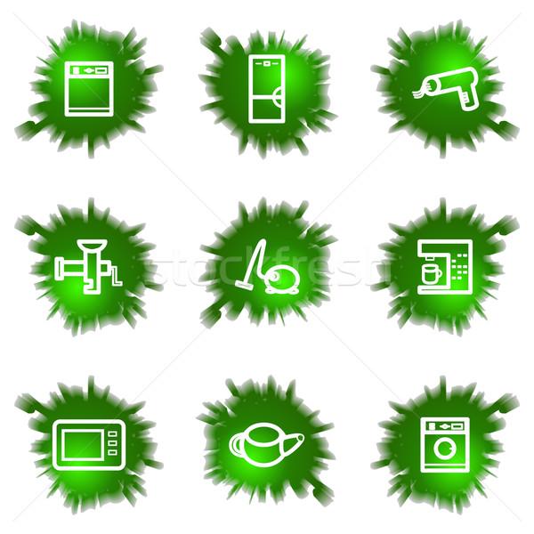 Verde buco set lucido icone web Foto d'archivio © Fyuriy