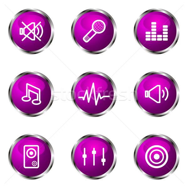 Сток-фото: набор · веб-иконы · 15 · фиолетовый