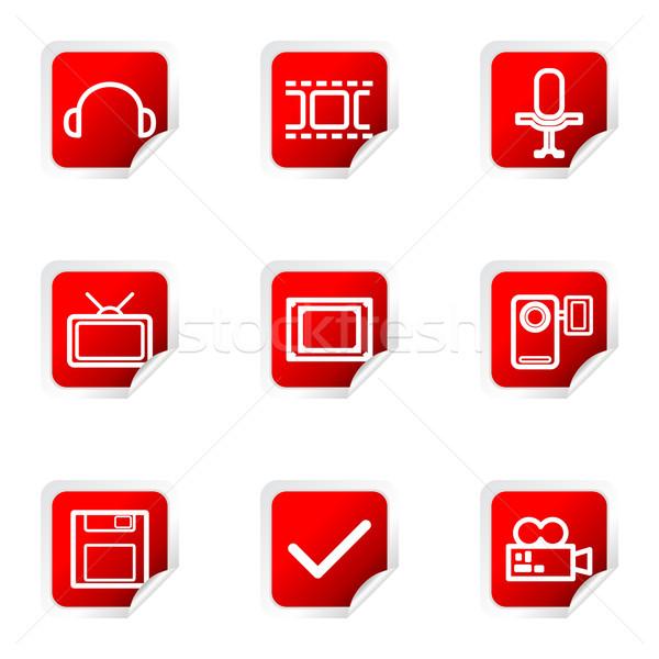 Parlak ayarlamak web simgeleri 30 Kızıl Meydan Stok fotoğraf © Fyuriy