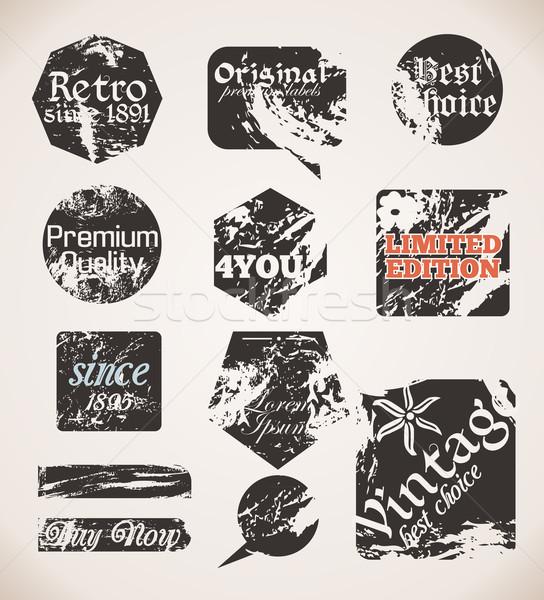 Vintage etichette vecchia carta texture vettore grunge Foto d'archivio © Fyuriy