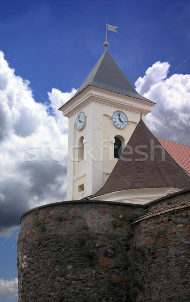 Tower of old castle on blue clouds.  Stock photo © Fyuriy