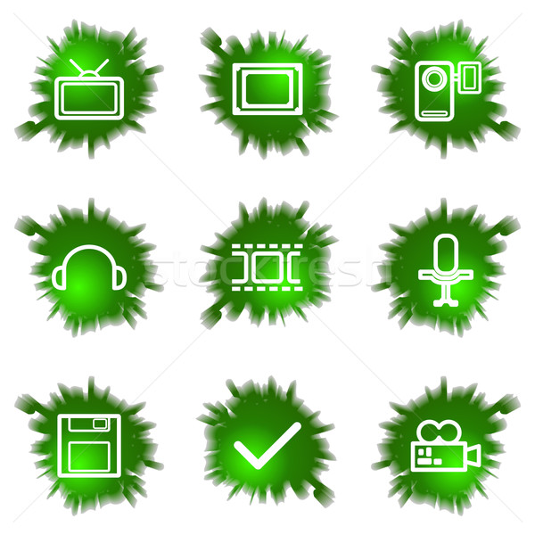 Grünen Loch Set glänzend Web-Icons Stock foto © Fyuriy