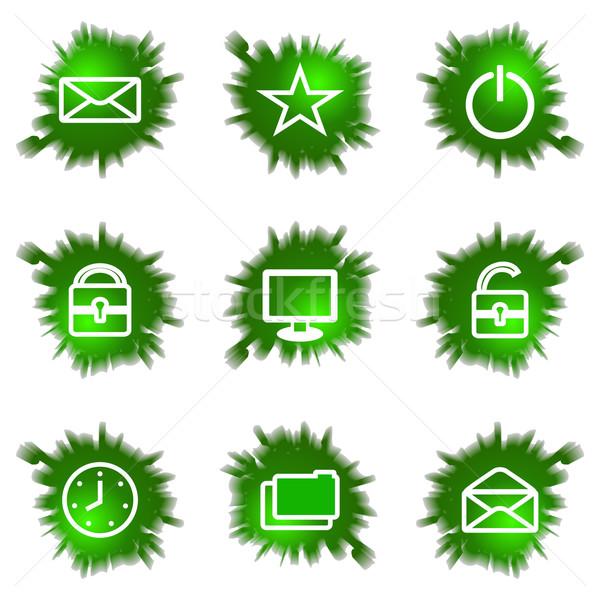 Ikon szett zöld lyuk szett fényes webes ikonok Stock fotó © Fyuriy